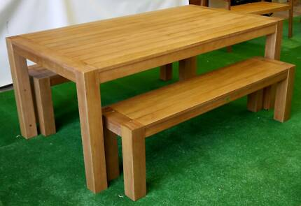 New Chunky 1800 Timber 3 Pc Setting Table Bench Outdoor Furniture