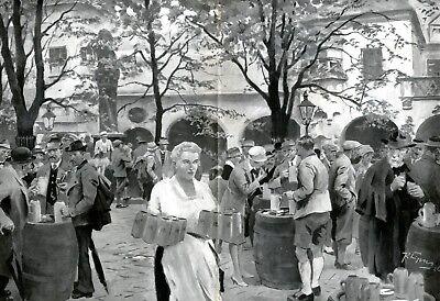 Biergarten Hofbräuhaus München XXL Kunstdruck 1926 Bier Bayern Rudolf Lipus