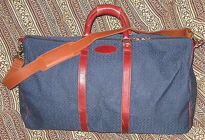 Vintage French of California Blue Tweed Travel Overnighter Duffle Bag