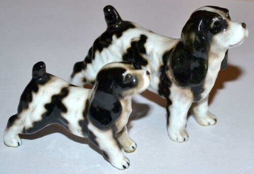 2 VINTAGE MINIATURE BONE CHINA SHOW DOG, SPRINGER SPANIEL DOG FIGURINE FAMILY