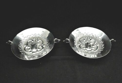 2 Antique Mexico 900 Silver Hand Hammered Sweet Meat Dishes-Signed Alday
