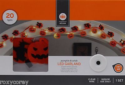 Halloween 20 Pumpkin & Witch LED Garland Lights Clear Wire Indoor Use 6 ft NIB