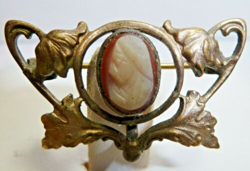 Antique Circa 1895 Carved Shell Cameo Art Nouveau Gold Fill Watch Fob or Brooch