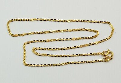 24K Solid Yellow Gold Square Link Chain Necklace 3.9 Grams