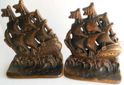 Vintage Cast Iron Bookends Nautical Sailing Ship Boat High Seas  Decor