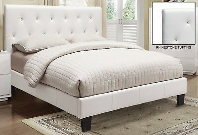 """Glitz"" 60"" Queen 3-PC Complete Bed in White Faux Leather Diamond Crystal Tuft for sale  Brampton"