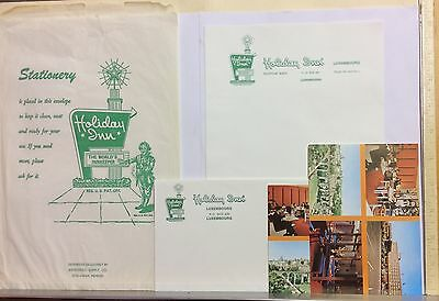 Vintage Holiday Inn of Luxembourg Hotel Stationery Set Postcard Envelopes Paper