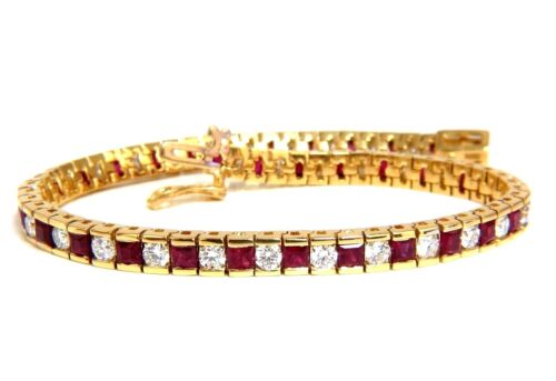 7.20ct Natural Ruby Diamonds Alternating Channel Line Bracelet 14 Karat