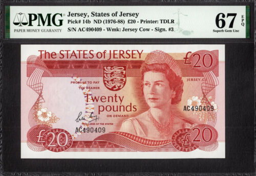 Jersey 20 Pounds QEII Pick-14b ND (1976-88) SUPERB GEM UNC PMG 67 EPQ