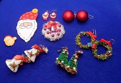 Vintage Lot-  Retro Christmas Jewelry Brooches, Pins, Earrings (Clip & Pierced)