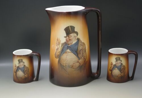 """WARWICK IOGA DICKENS JOLLY MAN XLARGE 10.5"""" PITCHER AND 2 MUGS ANTIQUE"""