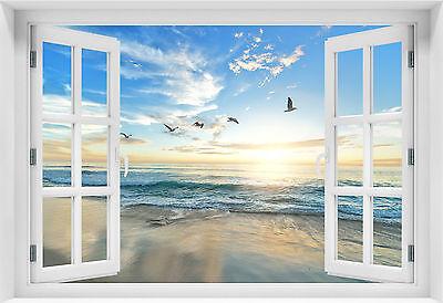 Fenster Poster (3D Wandillusion Wandbild FOTOTAPETE Poster Fensterblick Strand Sunset kr-z-s-1 !)