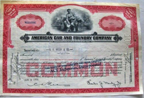 6 different. Stock certificate American Car & Foundry Comp. (ACF Industries Inc)