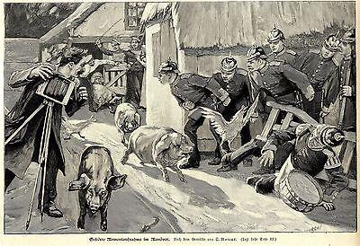 O.Marcus ( Gestörte Momentaufnahme im Manöver) Künstlergraphik Holzstich um 1897