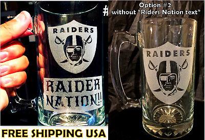 Laser Engraved Beer - OAKLAND RAIDERS sport Beer Mug 26.oz Personalized Laser Engraved FREE SHIPPING !