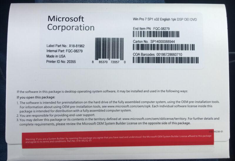 Microsoft Windows 7 Professional 32 Bit Full Version| DVD-Product Key [New]