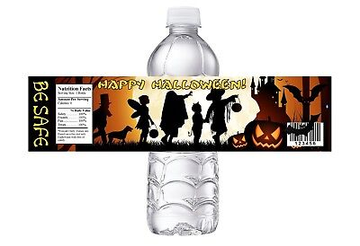 Class Halloween Party (HALLOWEEN PARTY, BIRTHDAY OR  CLASS PARTY FAVORS WATER BOTTLE LABELS WRAPPERS)