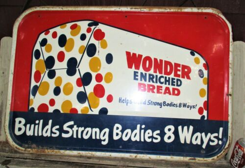 """37 """" WIDE ANTIQUE USA WONDER BREAD COUNTRY STORE BAKERY KITCHEN ADVERTISING SIGN"""