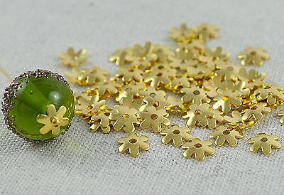 50,100,200  Stk. Perlenkappen  Blümchen 6mm gold Perlen Kappen Blumen Perle Caps (Blume Perle Caps)