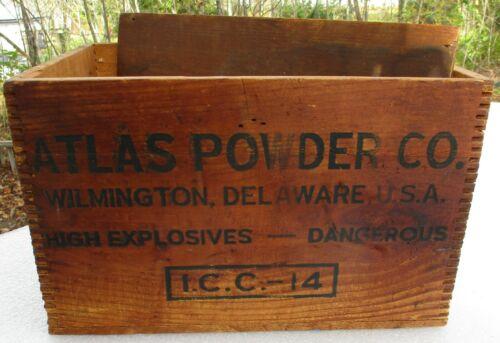 Atlas Powder Dynamite Wood Box Dangerous High Explosives Crate + Lid Cover