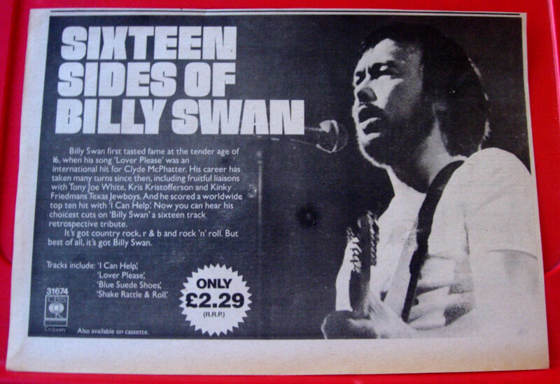 "Billy Swan Sixteen/16 Sides Of Vintage ORIG 1978 Press/Magazine ADVERT 12.5""x 9"""