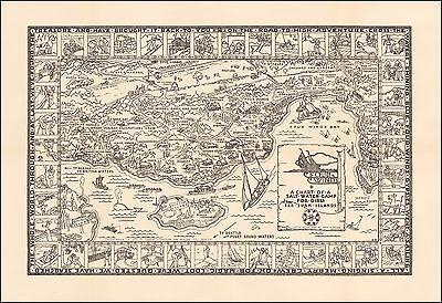 Salt Water Camp For Girls 1938 Pictorial map Four Winds Camp San Juan 48960
