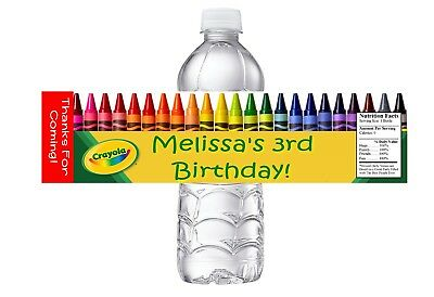 10 CRAYOLA CRAYONS CUSTOM BIRTHDAY PARTY FAVORS WATER BOTTLE LABELS WRAPPERS (Custom Crayons)