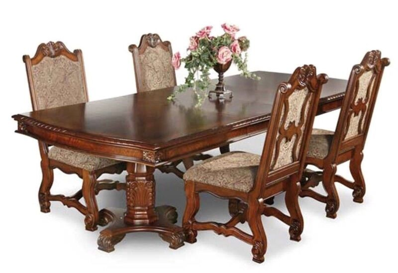 Neo Renaissance Table & Chairs Formal Dining Room Set Medium Brown Finish New