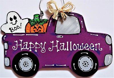 HAPPY HALLOWEEN Vintage TRUCK WALL ART Sign Door Hanger Hanging Plaque (Happy Halloween Plaque)