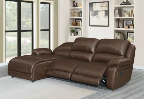 BROWN BONDED LEATHER MATCH 2 RECLINER RECLINING SOFA CHAISE LIVINGROOM SECTIONAL
