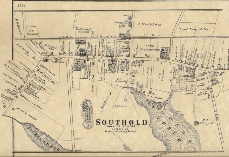 Southold Mattituck Shelter Island NY 1873  Maps with Homeowners Names Shown