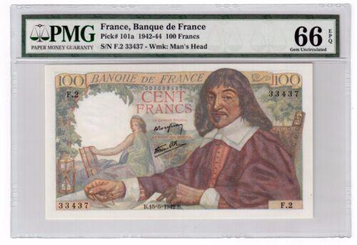 France 100 Francs Banknote 1942 Pick# 101a PMG Gem UNC 66 EPQ Vintage