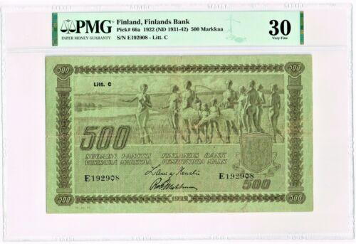 Finland: Finlands Bank 500 Markkaa 1922 (ND 1931-42) Pick 66a PMG Very Fine 30.