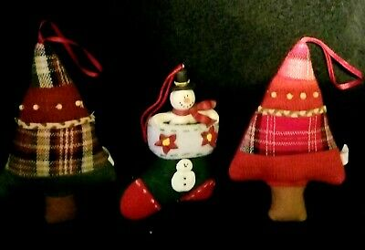 Cute Rustic Knit Ornaments - Christmas Trees & Snowman In Stocking