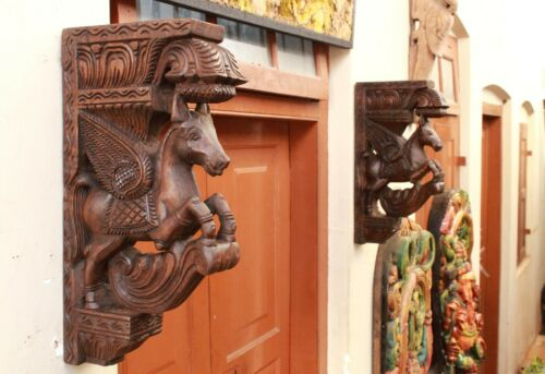 Horse Wall Corbel Bracket Pair Wooden Statue Home Decor Sculpture Vintage Rare