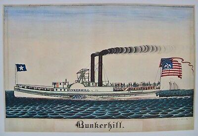 American Folk-flag (Vintage Art Print Bunkerhill Steamboat 1838 American Folk Flag Watercolor USA)
