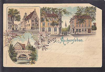 AK Litho Gruß aus Aschersleben, Salzland-Kreis, 1900 - defekt !