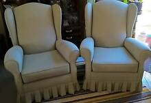 Wing Back Chairs - Olive Green Golden Grove Tea Tree Gully Area Preview