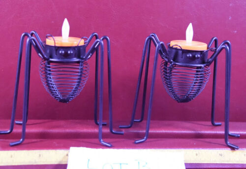 Halloween Spider Insect Votive Candle Holders 2 pc w battery flamed votive Lot B
