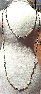 VINTAGE 60'S COLORED GLASS HIPPIE LOVE BEAD NECKLACE GREENWICH VILLAGE FREE SHIP