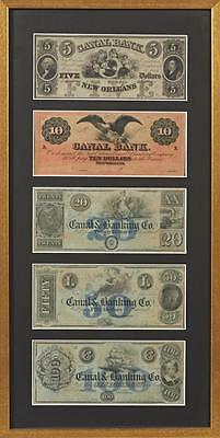 Group Of Five Unused Canal   Banking Co   New Orleans Notes  19Th C      Lot 361