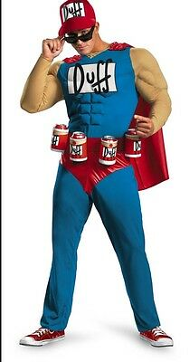 Duffman Kostüm (The Simpsons Adult Duffman Muscles Duff Man Beer Costume - Plus Size XXL 50-52)