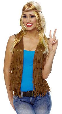 Female Hippie Costume (1960S 60'S ADULT WOMENS FEMALE RETRO PEACE HIPPIE COSTUME VEST WITH FRINGE)