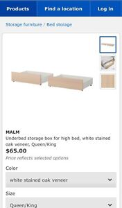4x IKEA Malm under bed drawers