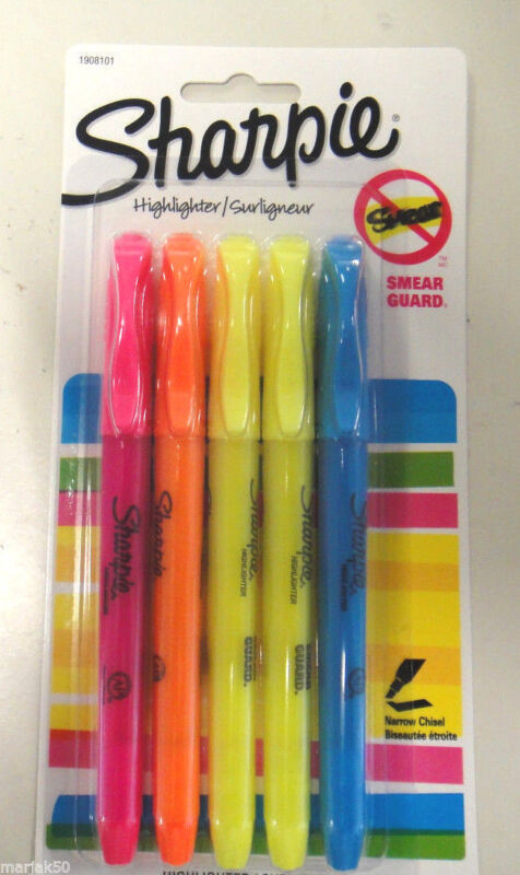 SHARPIE HIGHLIGHTERS-SMEAR GUARD SET OF 5--