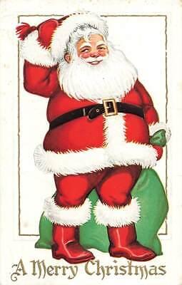 1920s Style Purses, Flapper Bags, Handbags c1920s Santa Claus Smiling Green Sack Bag Gilt Christmas P265 $15.75 AT vintagedancer.com