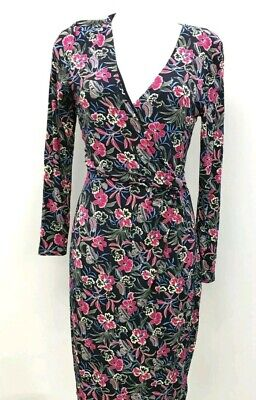 Joe Browns pink/blue/white floral print jersey dress 18 Long Sleeved Ruched