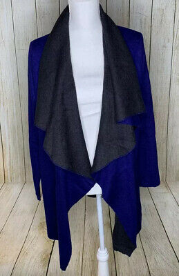Eileen Fisher Open Front Cardigan Sweater Blue Gray Long Sleeve Size Medium