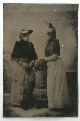 TINTYPE PORTRAIT in STUDIO-TWO YOUNG WOMEN-2 1/4 X 3 3/8-1870s-UNCASED-FASHION