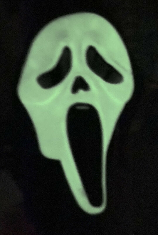 Scream Ghost Face Mask Easter Unlimited Fun World RARE GLOW IN THE DARK T Stamp